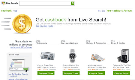 live-search-cashback Live Search Cashback, un comparador de Microsoft