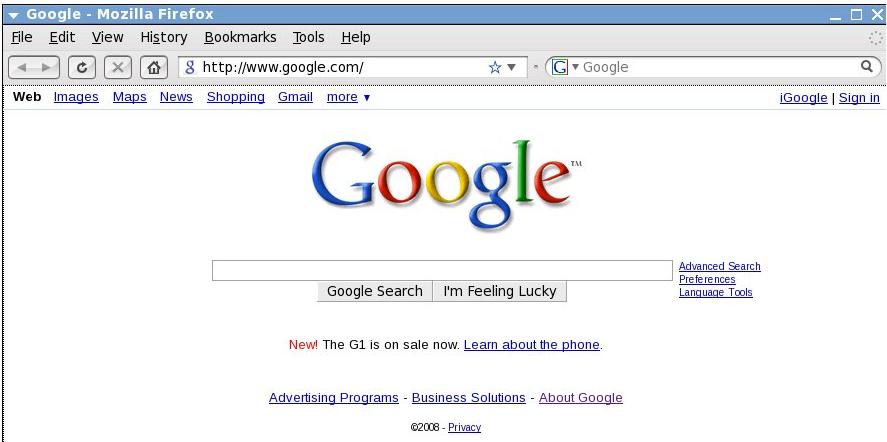 El tel  fono G1  con Android  en la portada de Google