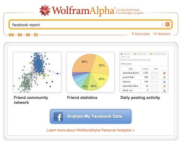 facebook report WolframAlpha Wolfram Alpha Facebook Report: ¿analíticas personales?